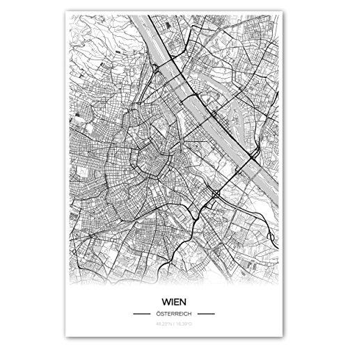 Zulumaps Poster 30x45cm Stadtplan Wien - hochwertiger Kunstdruck