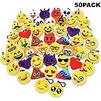 50Pack Emoji Llaveros alta calidad,Suministros de Fiesta,Decoración del bolso y del anillo dominante para el regalo 5cm(Clip negro)