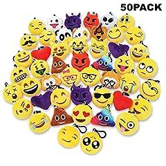 Idea Regalo - Sld 50PCS Portachiavi Emoji,Mini Cuscino della peluche,Forniture di favore del partito,Decorazione della borsa e dell'anello chiave 2