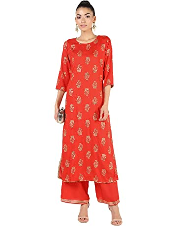 1cdd4890450 Dee Desi Women's Rayon Gold Print Gota Lace Work Straight Kurta and Palazzo  Set Salwar Suit