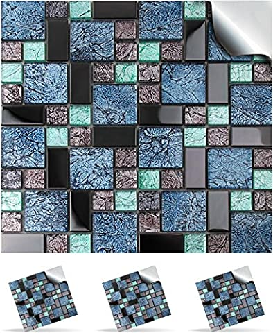 2 Mosaic Wall Tile Stickers For 150mm (6 inch) Square Tiles –(2 Mosaic Glass - TP 71)- Realistic Looking Stick On Wall Tile Transfers Directly From the Manufacturer: TILE STYLE DECALS, No Middleman -- Peel and Stick on Tile to Transform your Kitchen, Bathroom – Oil-proof, Waterproof Tile Stickers, Heat Resistant Sticks on tile kitchen tiles stickers / Bathrooms Tile Stickers – (6
