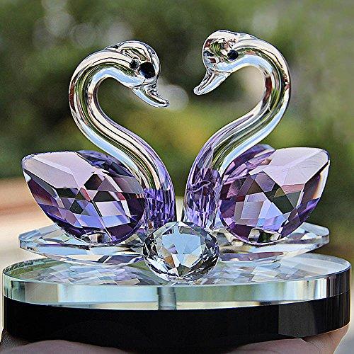 ToDIDAF Crystal Swan Briefbeschwerer, Paar Schwan, Angesicht zu Angesicht, Glasfigur, Elegantes Handwerk für Zuhause/Wohnzimmer/Hochzeitsdekoration (C) -