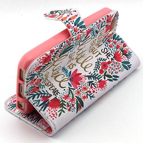 ubmsa-iphone 5S 5Étui portefeuille à rabat avec support de Crédit Porte-cartes en cuir avec clip ceinture, fermeture magnétique avec fonction de doigts Coque bumper en TPU souple, berce