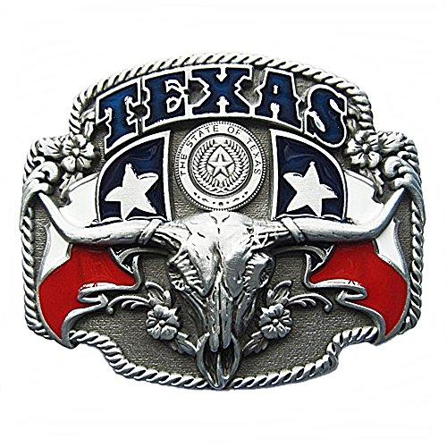 Westernlifestyle Gürtelschnalle Buckle Gürtelschliesse für Wechselgürtel Longhorn Texas Lone Star Country LineDance (Longhorn Gürtelschnalle)