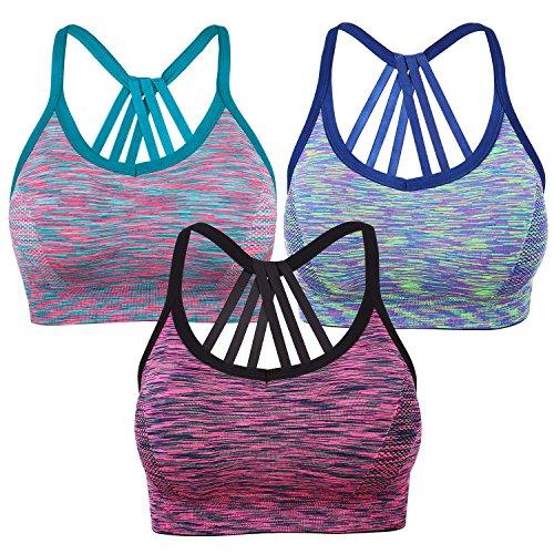 Yolev Sport BH Yoga BH Bustier ohne Bügel Gepolsterer Stretch Sports BH für Fitness Training 3 Stück/Pack (M, Blau+Fluoreszenzlicht, Schwarz+Rose, Blaugrün+Pink) (Bh Top Rückenfrei)