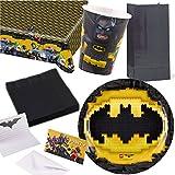 109-teiliges * LEGO BATMAN * PARTY SET für Kindergeburtstag mit 8 Kinder: Teller, Becher, Servietten, Einladungen, Partytüten, Tischdecke, Luftschlangen, Luftballons, u.v.m. // Mottoparty Motto Geburtstag Party DC Comics Superheld