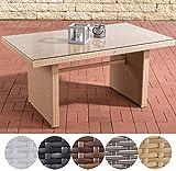CLP Polyrattan-Gartentisch FISOLO mit Einer Tischplatte aus Glas | Wetterbeständiger Pflegeleichter Tisch | in Verschiedenen Farben erhältlich Sand