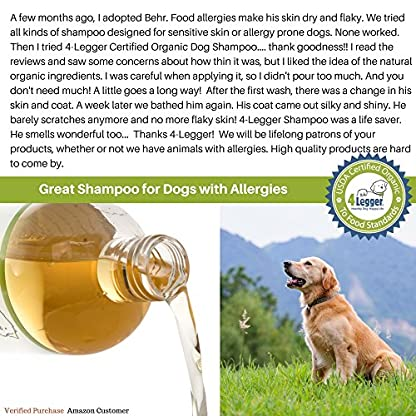 4-Legger® Certified Organic Dog Shampoo - All Natural, Hypoallergenic with Aloe - Lemongrass, Biodegradable, Non-Toxic… 7