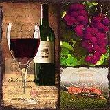 Lot de 20 Serviettes en Papier pour vin Rouge 33 x 33 cm