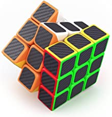 Generic Montez Carbon Fiber Neon Colors Magic Rubik Cube Puzzle Toy (3x3, 5.5cm)