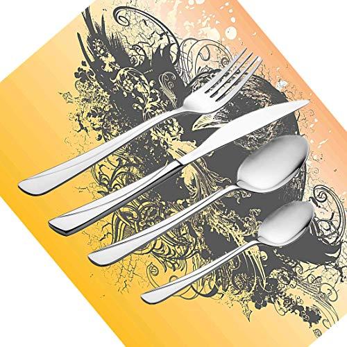 30-teiliges Besteckset, schwarzes Geschirr Besteckset aus Edelstahl für 6 Personen, einschließlich Messer, Gabeln, Löffel, Teelöffel und Tischset, Halloween-Thema-Vektorillustration eines Dochtes (5 Person, Halloween-thema)