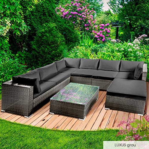 BRAST Poly-Rattan Gartenmöbel Lounge Set 14 Modelle 3 Farben 4-12 Personen Sitzgruppe Luxus Grau