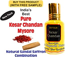 Indra Sugandh Kesar Chandan Mysore Attar 12 ml. Pure Attar Perfume For Long Lasting Fragrance