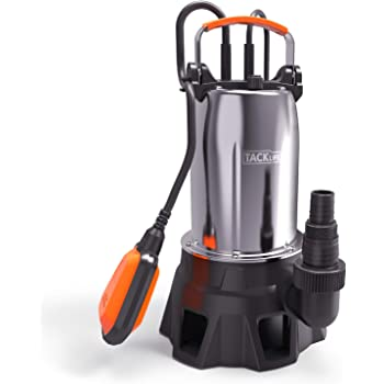Submersible Pump, TACKLIFE 1000W Submersible Water Pump with Float Switch for Domestic Waste Water(Max Flow 20000L/H, Max Submersion Depth 7M, Max Lift 9M, Max Grain 35mm Cable 10M) GSUP2C
