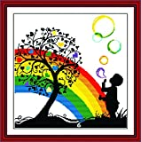 Benway Counted Cross Stitch Kit Boy Playing With Colorful Bubbles Under The Heart Tree 14 Count 42cm X 41cm