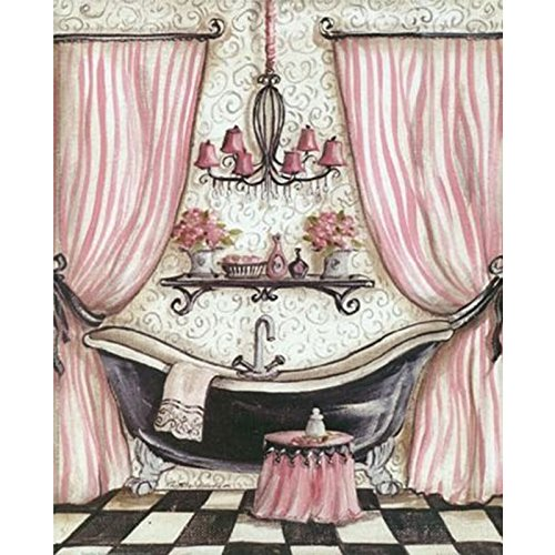 Raybre Art Pink Shower Curtain Bath Rose Bathroom Oil Paintings Reproduction Modern Canvas Prints Artwork Abstract Pictures Printed On Wall For