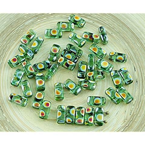 40pcs Cristallo Verde Vitrail Pavone Mattoni ceca Perle di Vetro a Due Fori 4mm x 8mm