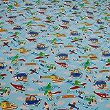 Kinderstoff Baumwolle Lycra Single Jersey hellblau Flugzeug