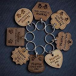 National Engraver Pendentifs pour Colliers de Chien Chat Tag Disque Animaux Accessoires Collier Étiquette d'identification Médaille Gravure Personnalisé Vrai Bois Massif