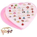 SSyang 36 Pcs Little Girls Adjustable Rings Set,Girls Rings for Kids,Princess Jewelry Finger Rings,Children's Ring Set…