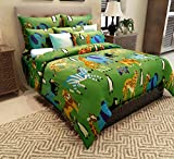 Home Candy 144 TC Animal Kingdom Kids Cotton Double Bedsheet with 2 Pillow Covers - Multicolor