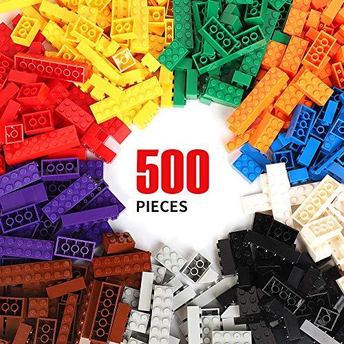WYSWYG Bloques de Construcción 500 Piezas Compatible con Classic Todas Las Marcas Incluidos 10 Tipos Colores y 14 Formas Ladrillos para Niño de 6 Años Juguetes Puertas, Ventanas y Neumáticos
