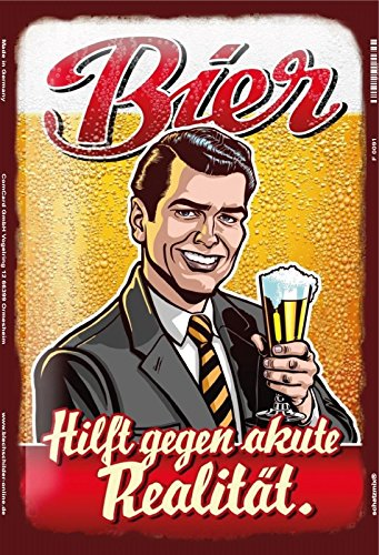 Bier Hilft gegen akute realität lustig metal sign, retro, schild aus blech (Vintage Lustige Bier)