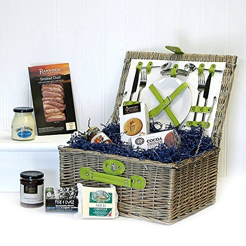 Retro Green Chiller 2 Person Fitted Picnic Hamper Basket with an Organic Gourmet Food Selection - Great gift ideas for Christmas presents, Birthday, Wedding, Anniversary