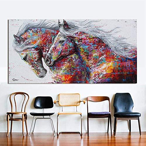 Orlco Kunst-Wandbild auf Leinwand, Ölgemälde, Tier-Dekoration, drei laufende Pferde, Druck auf Leinwand, Heimdekoration, Bilder Poster, bunte Dekoration, a, 24x48inch(60x120cm) with the frame -