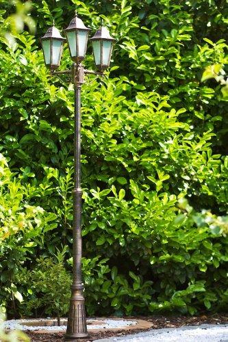 Kandelaber mit 3 Armen für den Außenbereich – Laterne aus Aluguss – Mastleuchte in Bronze mit 3 x E27-Fassung - moderner Leuchter im schlichten Design - wetterfest (Kandelaber 3 Arm)