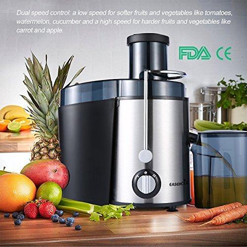 Easehold Elektrischer edelstahl Entsafter mit 400W - Intertek/GS geprüft Stainless Steel Juice Extractor Fruit Vegetable Juicer 2 Speed