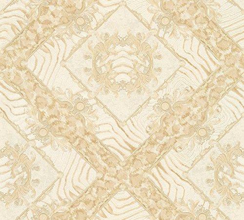 Abstraktes Weiß Elfenbein mit Zebra-Rautenmuster, Maculat und Damast mit Blase Versace 3-34904-4