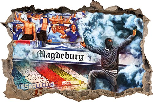 Ultras magdeburg Collage, 3D Wandsticker Format: 62x42cm, Wanddekoration