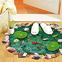 Winhappyhome realistici Lotus Pond pesci rossi rimovibili decalcomanie a terra Adesivi per soggiorno Bagno