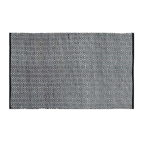 Homescapes handgewobener Chindi Teppichläufer mit Geometrischem Muster in Schwarz - Weiß, Papier, Trance, 66 x 200cm