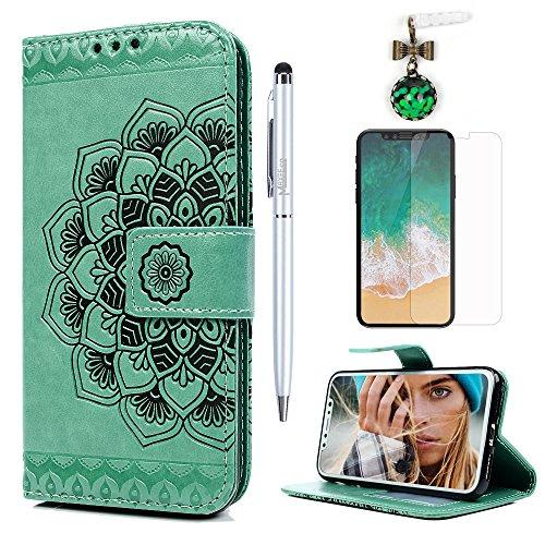 MAXFE.CO Schutzhülle Tasche Case für iPhone X PU Leder Flip Tasche Cover Prägung Halb Blumen Muster im Ständer Book Case / Kartenfach Rose Gold Mintgrün