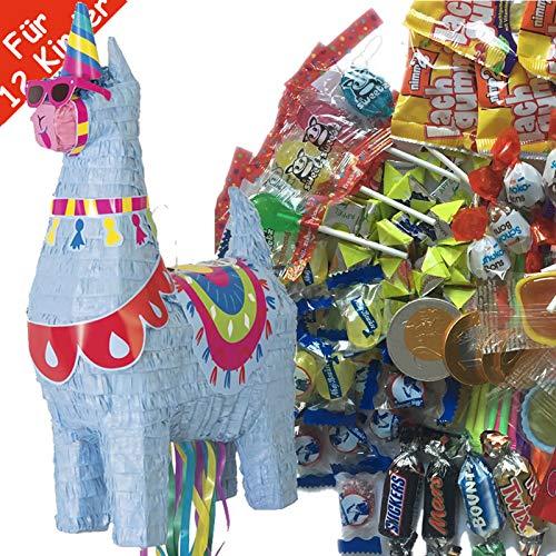 Pinata-Set * SÜSSES LAMA * mit großer Zug-Piñata + 100-teiliges Süßigkeiten-Füllung No.1 von Carpeta | Spanische Zugpinata für bis zu 12 Kinder | Tolles Spiel für Kindergeburtstag