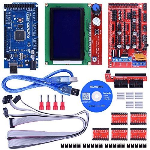 Kuman 3D Controlador de Impresora Kit para Starter Kit de Mega 2560 R3  Arduino +RAMPAS 1,4 + + 5 piezas Conductor del Motor de Pasos A4988 + LCD  12864