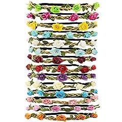 Idea Regalo - Tomkity 14 Pezzi Multicolore Ghirlande Fasce del Fiori con Il Nastro Elastico Regolabile