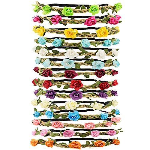 Tomkity 14 pezzi multicolore ghirlande fasce del fiori con il nastro elastico regolabile
