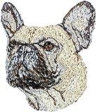 Französische Bulldogge, Stickerei, Patch mit dem Bild eines Hundes