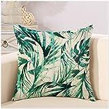 Beautiful Pillow case, Coliang Piantaggine pianta verde foglie di palma dipinto a mano cotone canapa cuscino del divano 45,7x 45,7cm 45x 45cm [non inserire]–Style 1, Cotone, Style 11, 55x55CM(With Insert)