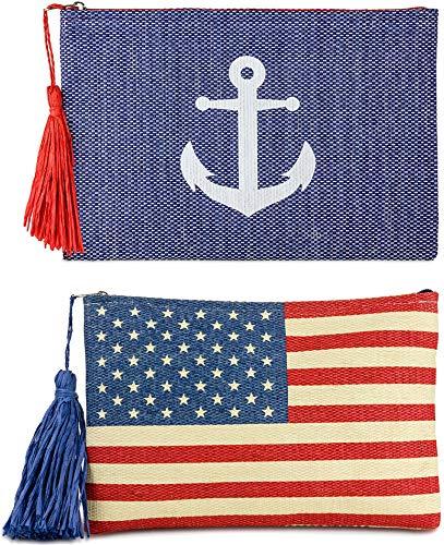 Funky Junque Damen Clutch mit Strohhalm und Reißverschluss, (2 Pk - Anchor (Navy) & American Flag), Einheitsgröße