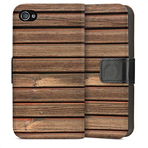 Apple iPhone 4 Housse Étui Silicone Coque Protection Look bois Lattes de bois Planches Sideflip Sac