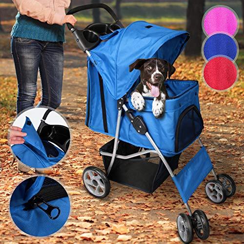 Leopet Hundebuggy für Hunde bis 15 kg   aus wasserdichtem Material, mit Klappfunktion und praktischer Einkaufstasche, Farbwahl   Pet Jogger, Tiere Wagen, Buggy Stroller (Blau)