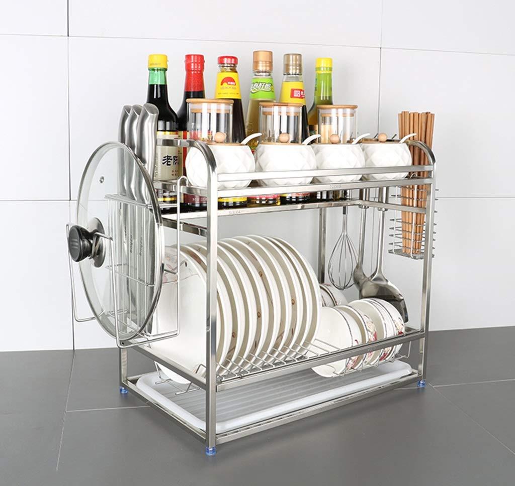 LAXF-Piccolo Scaffale per mensole per cucina con scolo grande a 2 ripiani |  Scolapiatti in acciaio inossidabile | Scolapiatti Drenante con vassoio e ...