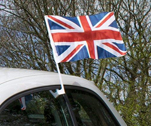 Trixes 2 Stück Union Jack Autofenster Fahnen 38x25cm für Sportveranstaltungen und Nationale Feierlichkeiten Easy Fix Klammern
