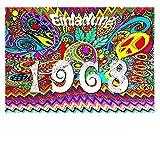 DigitalOase Einladungskarten 1968 50. Geburtstag MIT INNENTEXT 50. Jubiläum Geburtstagskarten 2 Klappkarten 2 Kuverts Format DIN A6#WOODST
