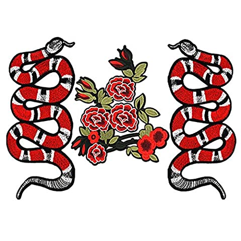 3 PCS Exquisite Snake Floral Pattern DIY Clothes Patches Stickers Embroidered Sew Patches Clothes Accessories for T-shirt Jeans Clothing Bags