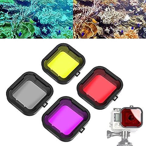 ASIV 4pcs flottant filtre de plongée accessoires de correction de couleur pour GoPro action Camera, 4 couleurs